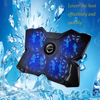 Powerful USB Powered Slim Flat Notebook Laptop Cooler Cooling Pad Radiator LED Four Fans For 17inch