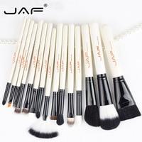 JAF 15pcs /set Makeup Brush Kit Animal Hair Syntehtic Hair White Handle Conveniently Portable Make Up Brush Set J1503M-W Smrp