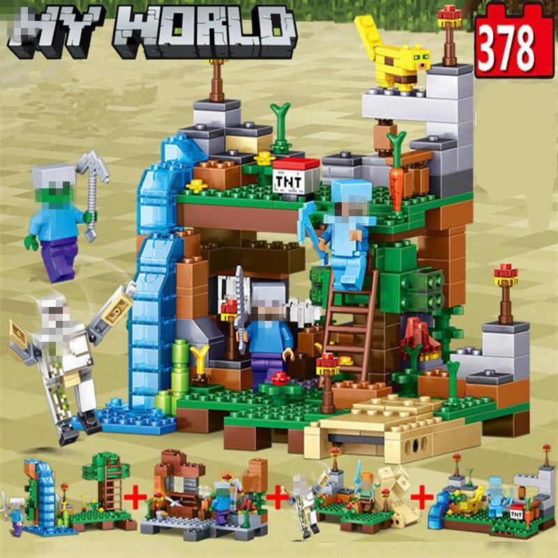 Meine Welt Minecrafted Figuren Stadt Bausteine 4 in 1 DIY Ziegel Legoed Minecraft Stadt Pädagogisches Erleuchten Kinder Spielzeug