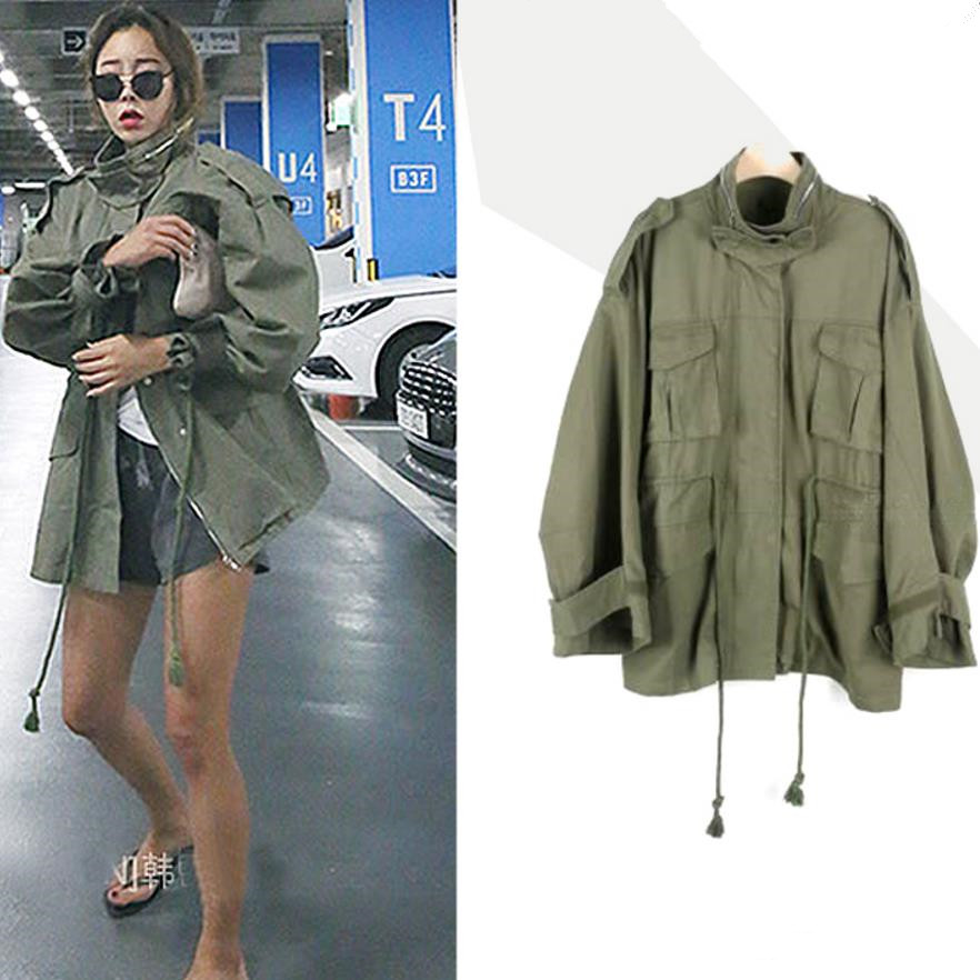 2019 Spring Autumn New Women Windbreaker Large Size Standing Collar Long Sleeve Safari Style Short   Trench   Coat