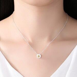 Image 3 - BELAWANG juegos de joyas de 100% Plata de Ley 925 auténtica para mujer y niña, flor de Margarita, esmalte blanco, conjuntos de joyas de compromiso para boda