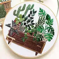 Cactus Patterns Embroidery Material Package Plant Series DIY Handcraft Beginner Embroidery Supplies Hanging Painting Decor