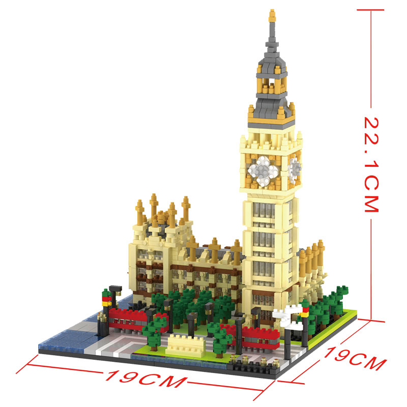 1641pcs Big Ben Famous Architecture Plastic City Technic Toys for Kid Building Block Brick Compatible Lepins Figures Toy hot toys nanoblock world famous architecture statue of liberty building blocks mini construction brick model iblock fun for kid