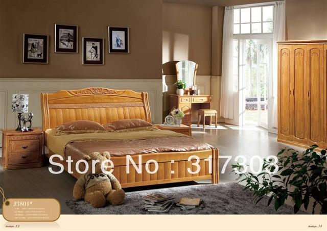 Fábrica venta al por mayor de madera de roble cama doble, diseño moderno, madera maciza muebles de dormitorio cama de pie H3801