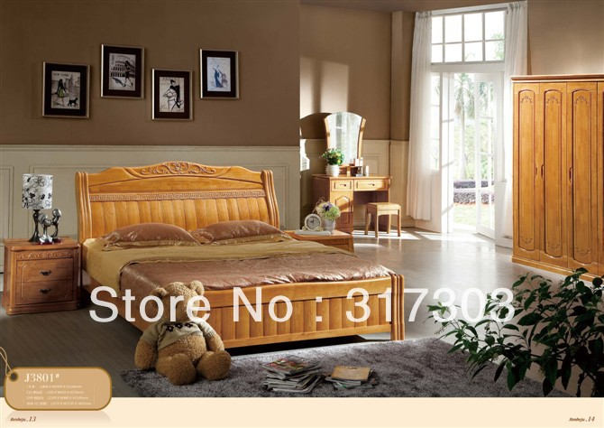 factory wholesale solid oak wood double bed modern design On achat chambre adulte
