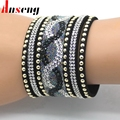 Anseng Brand Crystal Leather Bracelets Personality Printed Pave Setting Rhinestone Charm Women Bracelet Bangles