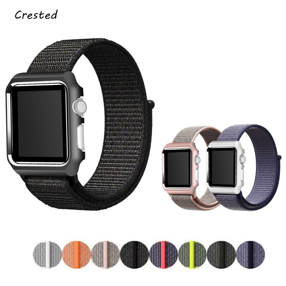 Sport Loop for Apple Watch Band+Case 42mm 38mm Nylon watch strap Bracelet with Metal Frame protector case cover for iWatch 3 2 1 baseus tpu strap watch band back cover for apple watch iwatch 38mm