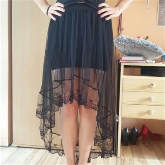 2017 verano moda tul cola de pez falda fresca mujeres alta cintura Midi  Falda larga Sexy d97232a55ab0