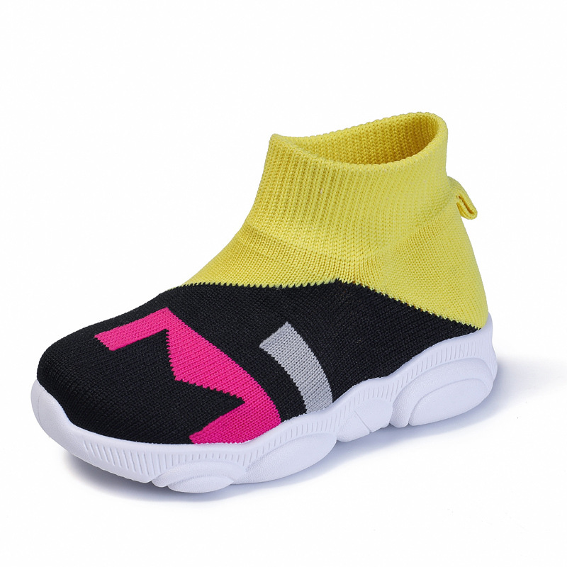 ULKNN Children's Flying Woven Mesh Shoes 2019 Autumn Kids Casual Shoes For Boys And Girls Yellow Red Green Baby Socks Shoes