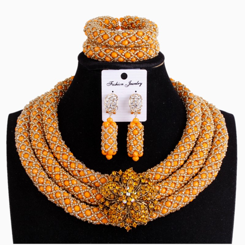Costume Wedding Jewelry Sets Crystal Orange & Gold Womens Necklace Jewellery Sets 3 Layers Handmade African Nigerian Beads Set african orange red beads necklace sets orange gold crystal balls beads women fashion jewellery sets qw1191