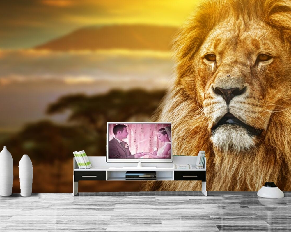 Papel de parede Lions Africa Animals photo wallpaper ,living room tv background sofa wall bedroom restaurant 3d mural 3d mural papel de parede purple romantic flower mural restaurant living room study sofa tv wall bedroom 3d purple wallpaper