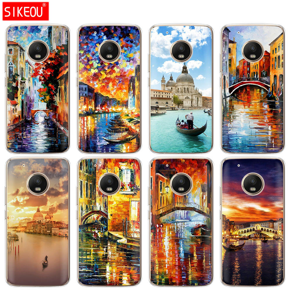 Silicone Case Phone Cover For Motorola Moto G6 G5 G5S Z2 Z3 PLAY PLUS X4 E4 E5 C Italy Night Venice Landscape