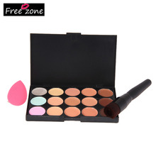 15 Colors Professional Contour Palette Makeup Corrector Concealer + Sponge Puff + Makeup Powder Brush proofreader for face