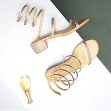 Летние женские сандалии 2019, модная пикантная обувь renee со стразами на среднем каблуке вечерние няя дышащая женская прогулочная повседневная обувьБоссоножки и сандалии    АлиЭкспресс
