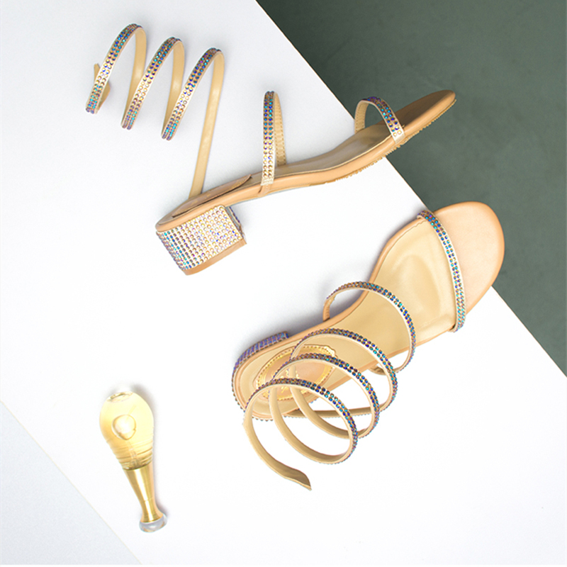 Summer Women <font><b>Sandals</b></font> 2019 Fashion <font><b>Sexy</b></font> Rhinestone Mid Heel Tied Party Breathable Comfort Shopping Woman Walking Casual Shoes image