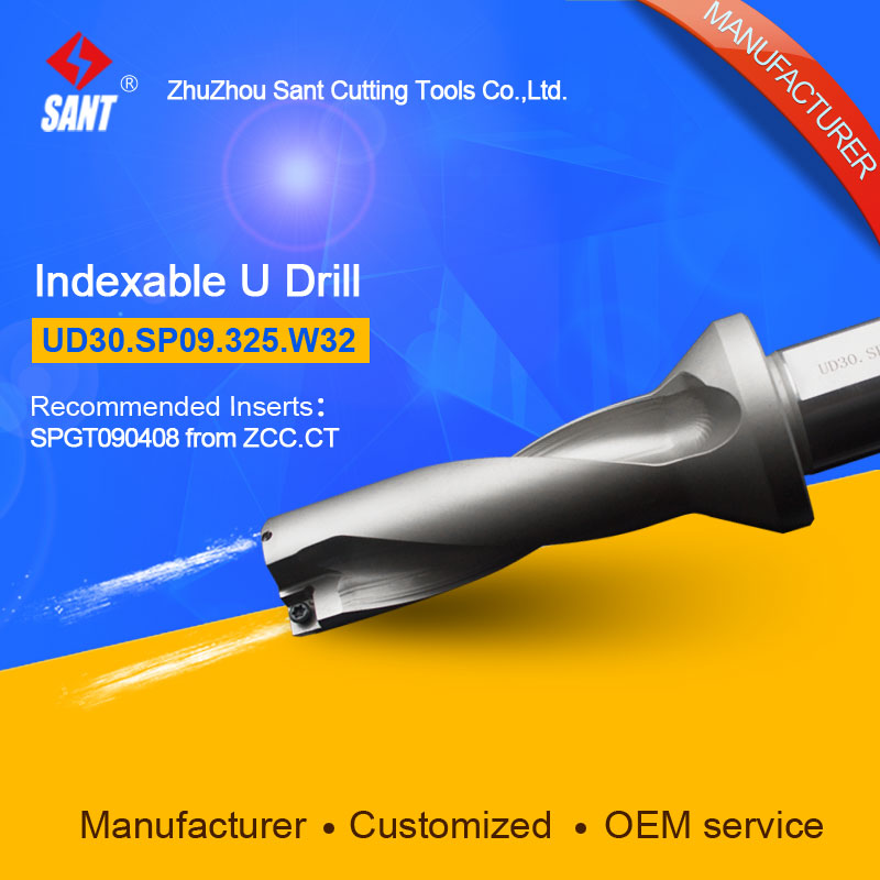 Zhuzhou Sant Indexable Drilling Tools U Drill UD30.SP09.325.W32 Applicable Carbide Inserts SPGT090408 Or SPMG090408 wcmx080412 nn lt30 swiss made lamina original carbide inserts for u drill