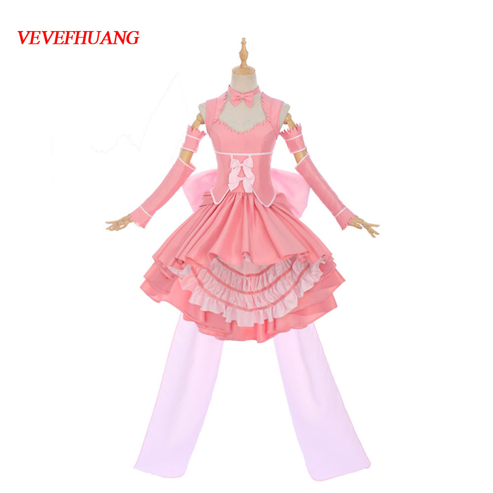 VEVEFHUANG Anime Game Chobits Cosplay Costumes Chi Pink Freya Black Lolita Formal Dresses Synthetic Wigs Cosplay Women Girls