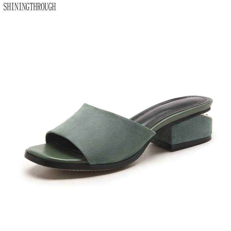 suede Leather Slippers Women med Heels Footwear Slides Shoes Mules Shoes Woman Summer 2019 summer