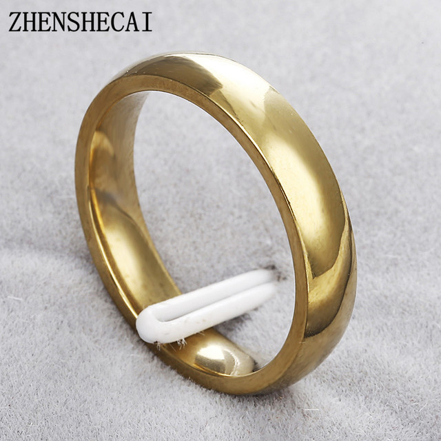 High quality classic wedding ring for men women gold Color stainless steel ring party engagement jewelry wholesale g16