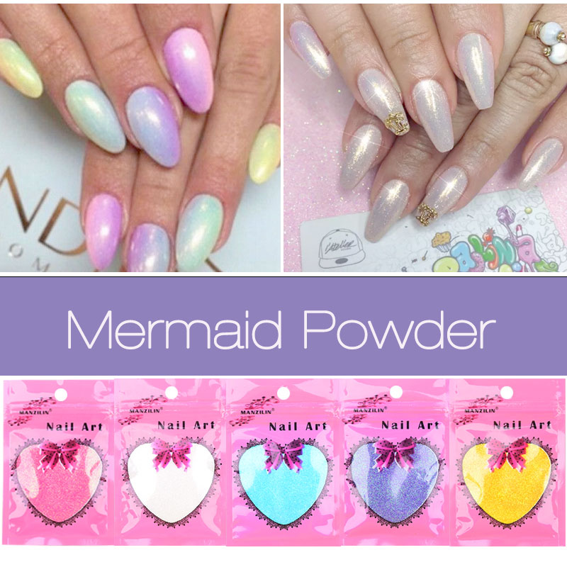 웃 유New Nail Art Giltter Mermaid Effect Chrome Pigment Powder 10g ...