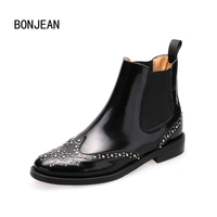 Women Shoes Patent Genuine Leather Woman Ankle Boots Chelsea Boots Brogue Shoes 3 Style Ladies Rivets