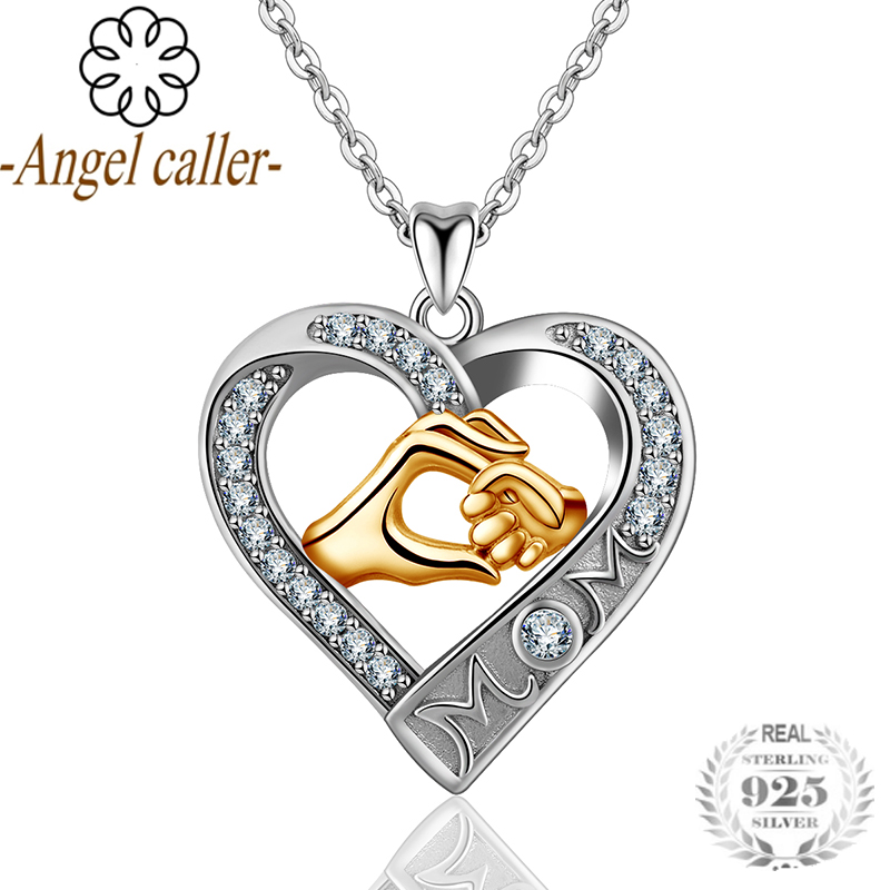 Angel Caller Real 925 Sterling Sliver Mother and Baby Hand in Hand Heart Pendant CZ Mom Crystal Necklace For Mother's Day Gift