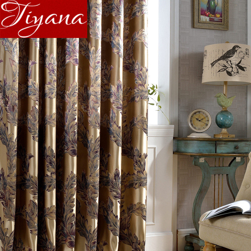Luxury Retro Feature Curtain For Living Room Jacquard Blackout Drapes Sheer For Window Bedroom Tulle Curtain X223#30