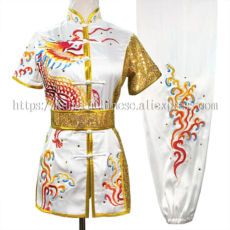 Chinese wushu uniform Kungfu clothes Martial arts suit Routine performance outfit taolu garment for woman girl