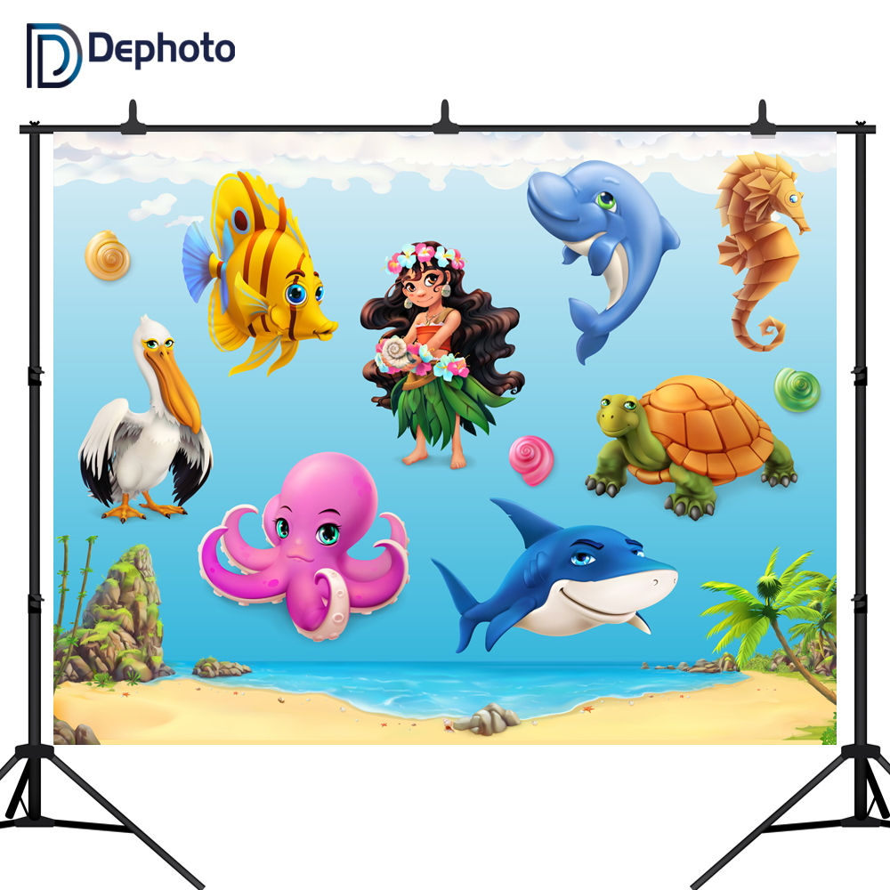 DePhoto Newborn Baby shower Photography Backdrops Beach shark Photographic Studio Photo Background Birthday Decorations Prop in Background from Consumer Electronics