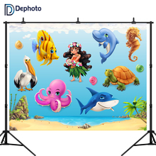 DePhoto Newborn Baby shower Photography Backdrops Beach shark Photographic Studio Photo Background Birthday Decorations Prop