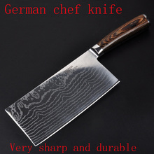 "7 ""inch damascus kitchen knife professional cleaver chopper kitchen stainless steel brank Damascus Japanese free shipping"