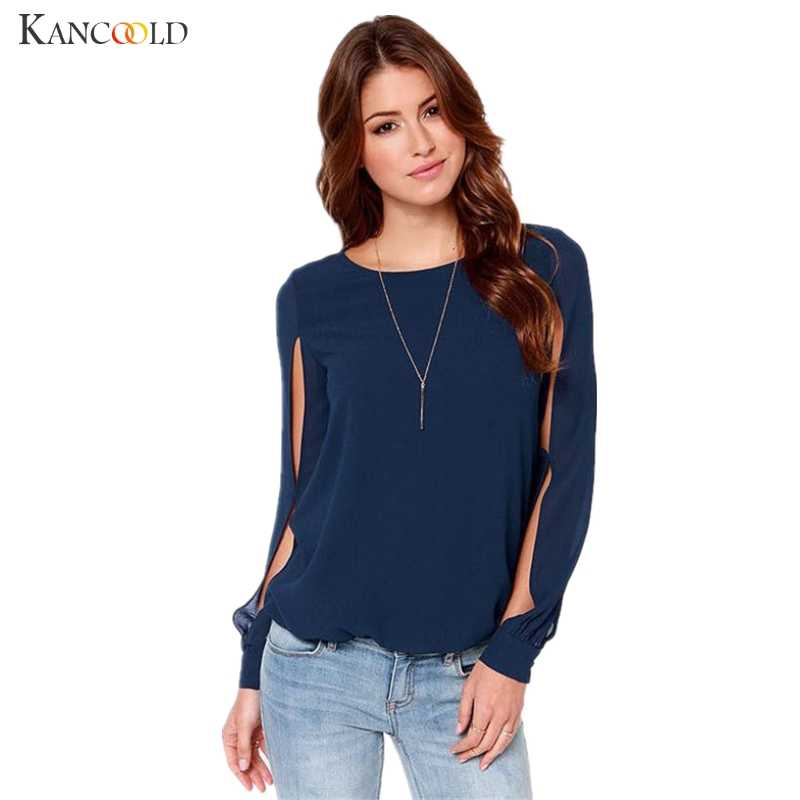 473b281104d Fashion Women Loose Sexy Long Sleeve Round Collar Chiffon Blouses Girls  Unique Design Casual Shirts Ladies