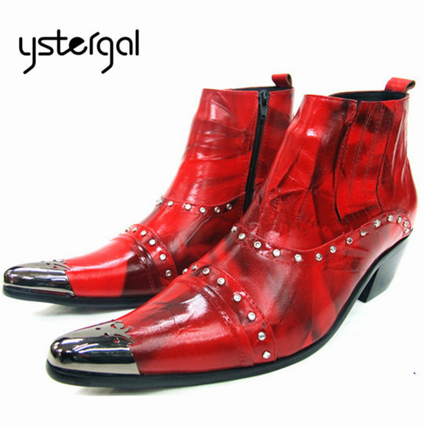 YSTERGAL Fashion Red Genuine Leather Men Ankle Boots Metal Pointed Toe Mens Formal Dress Shoes High Top Botas Hombre Cowboy Boot fashion genuine leather mens ankle boots pointed toe lace up wedding dress shoes safety shoes men military boots mans footwear