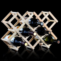 Creative Foldable 3 5 6 10 Bottle Wooden Wine Rack Mount Kitchen Carbonized Holder Organizer Display