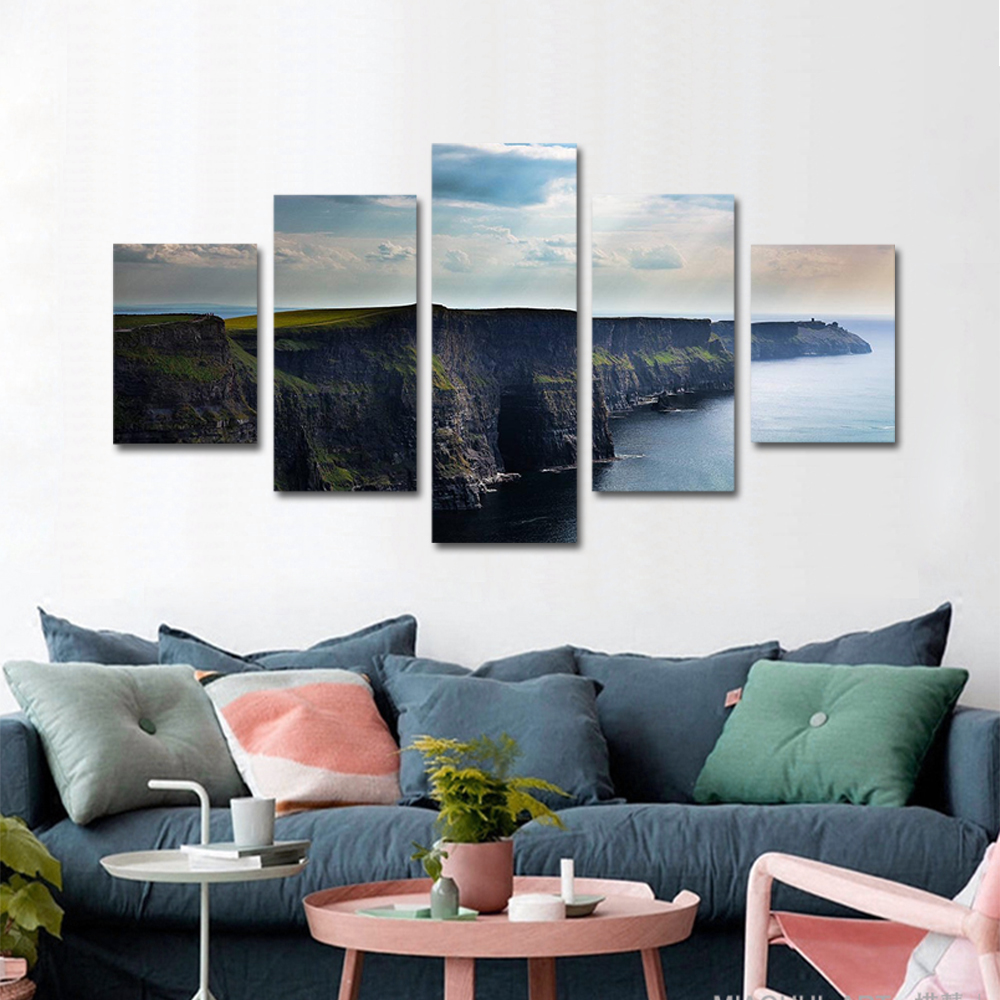 Unframed Canvas Painting The Sea Green Coast Sunlight Landscape Photo Prints Wall Pictures For Living Room Wall Art Decoration