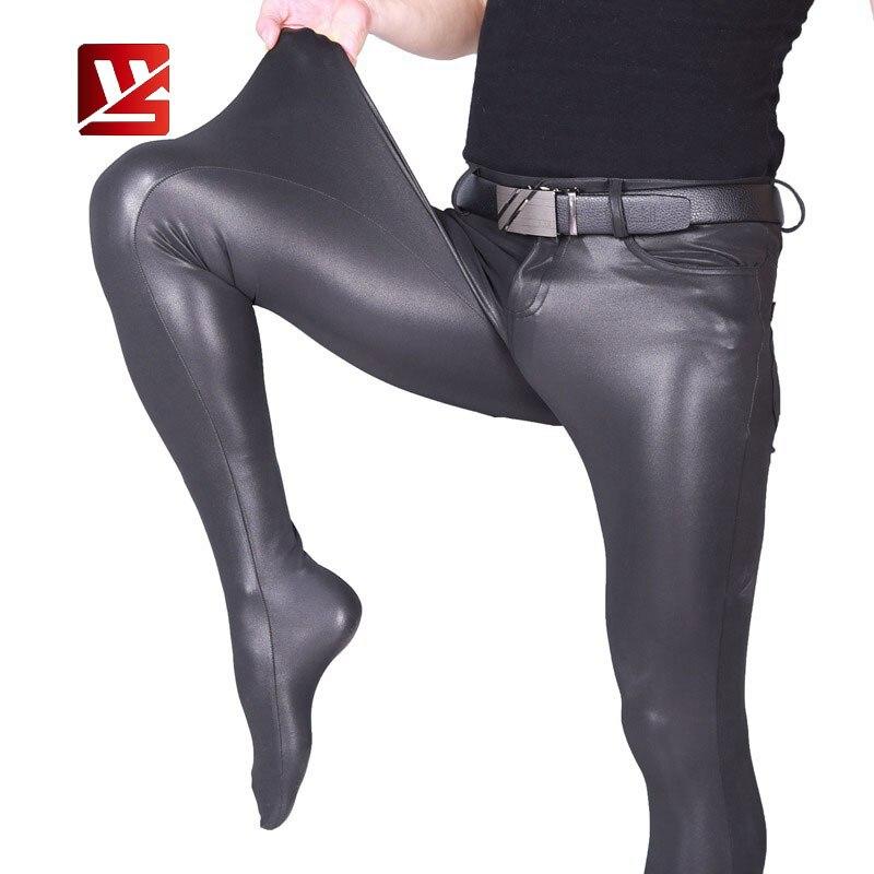 MEISE Sexy Men PU Pencil Pants Shiny Thin Tight Pants Elastic Pencil Pants Stage Trousers Faux Leather Gay Pantihose Leggings