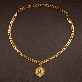 Chain/Gold Color Initial Letters Anklet for Women Fashion Alphabet Jewelry Gifts