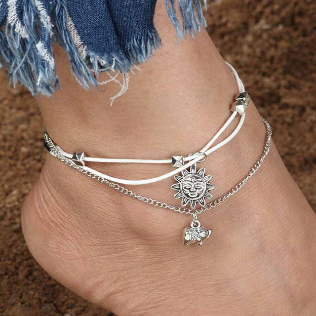 4327333513f Tenande Vintage Sun Elephant Anklets for Women Multi Layer Rope Chain Ankle  Bracelet Leg Sandals Barefoot