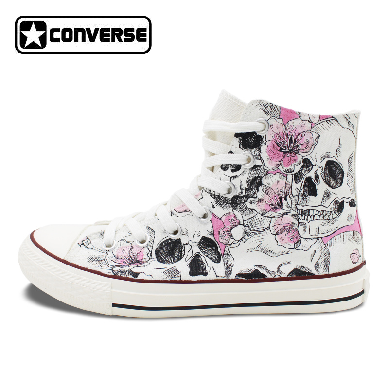 Hand Painted Skull Flower Converse Chucks Men Women Skateboarding Shoes Floral Canvas Sneakers High Top Flats men women converse puerto rico flag hand painted artwork high top canvas shoes unique sneakers