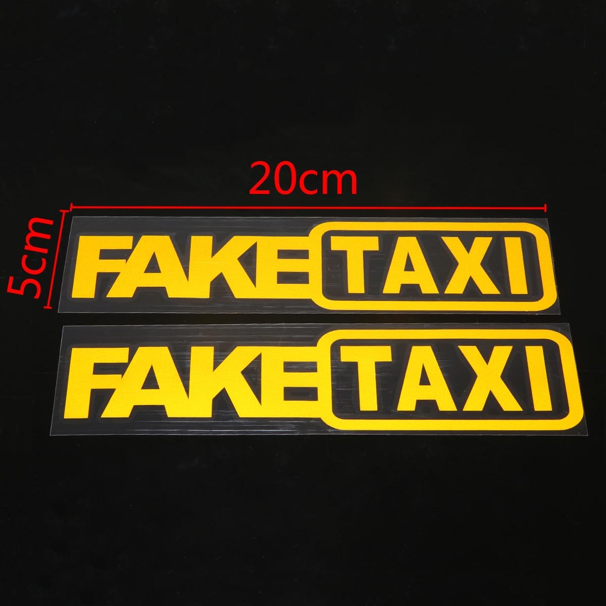2pcs FAKE TAXI Sticker Car Styling Car Bike Motorcycle Helmet Decal Emblem Self Adhesive Vinyl Stickers in Car Stickers from Automobiles Motorcycles
