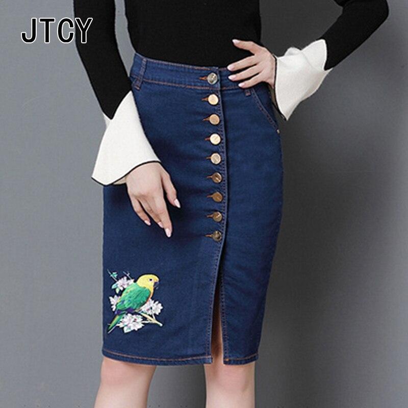 JTCY nouvelles femmes mode Silid Denim jupe boutons broderie Sexy Skinny jupe grande taille femme genou-longueur Sexy jupe