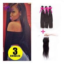 Brazilian Virgin Hair Closure 3 Bundles With Closure Brazilian Hair Straight Closure Human Hair Weave Bundles