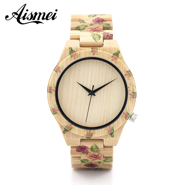 2017 Nueva Flor De Madera Relojes de Mens Mujeres Diseñador de la Marca de Cuarzo Reloj de Pulsera con Banda De Bambú en Caja de Regalo Original