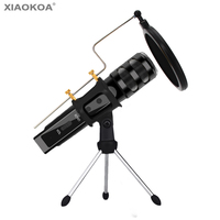 Professional Condenser Microphone for Computer Karaoke microphones with Stand Pop Filter for phone microphone XIAOKOA