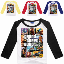 Z&Y 3-16Years GTA 5 T-shirt Boys GAMES Clothing Boys Long Sleeve Tops Grand Theft Auto Cartoon Tops and Tees for Couples N07055
