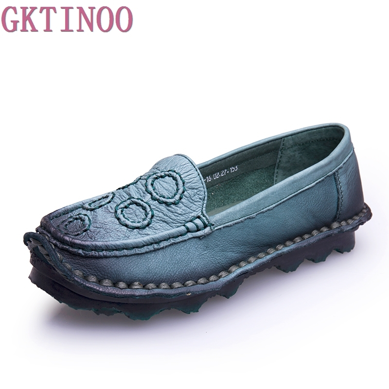 2017 Handmade vintage women's shoes genuine leather female moccasins loafers soft cow muscle outsole Spring casual shoes flats genuine cow leather spring shoes wedges soft outsole womens casual platform shoes high heel round toe handmade shoes for women