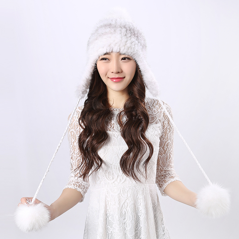 Ladies Mink Ear Hat high quality women winter hats real water mink fur color beautiful with poms thickened warm girl winter foreign trade explosion models in europe and america in winter knit hat fashion warm mink mink hat lady ear cap dhy 36