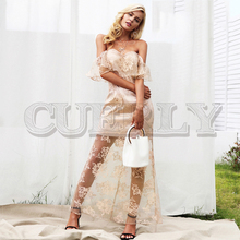 CUERLY Off shoulder elegant ruffle summer dress women Lining high waist lace female Autumn fashion maxi party dresses