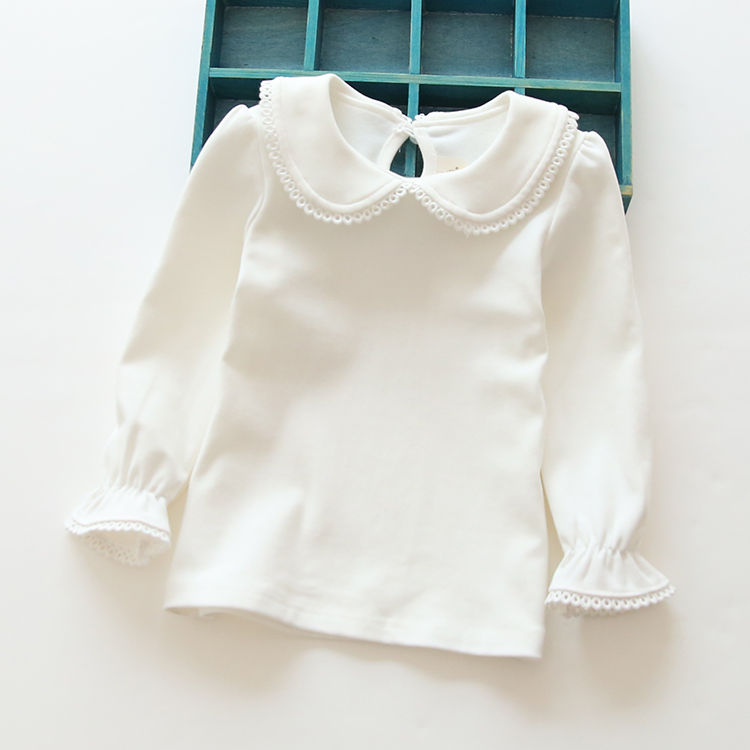 T-Shirt Collar Long-Sleeved Girls' Autumn Cotton Children The And Lace Spring Into Korean