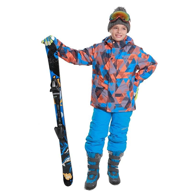 Dollplus 2018 Winter Sets Thicken Children Clothing Outdoor Sport Suit for Boys Snowboard Ski Jacket Pants Windproof Waterproof цена